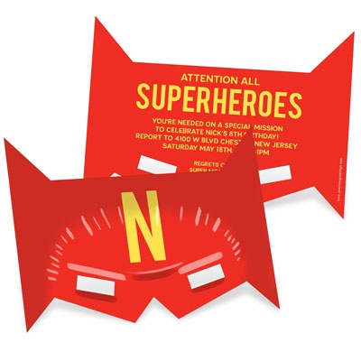 He's A Superhero Mask Kids Birthday Invitations