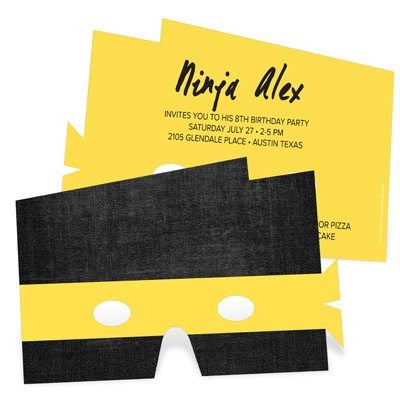Ninja Mask Kids Birthday Invitations