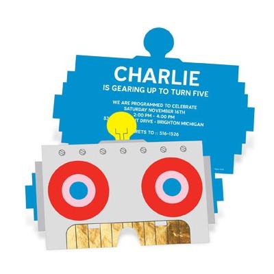 Robot Party Mask Kids Birthday Invitations