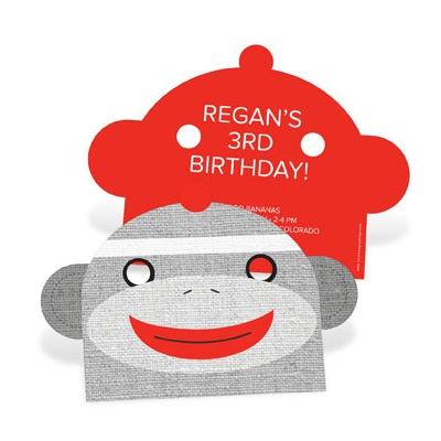 Monkey Mask Kids Birthday Invitations