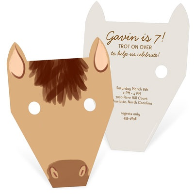 Horsing Around Mask Kids Birthday Invitations