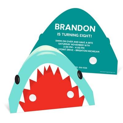 Shark Mask Kids Birthday Invitations