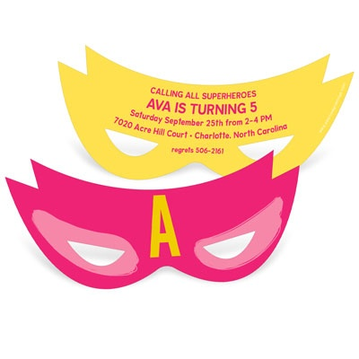 Girl Power Mask Kids Birthday Invitations