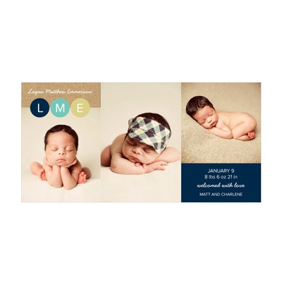 Photo Paper Boy Monogram Dots Birth Announcements