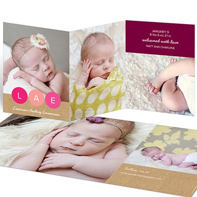 Monogram Dots Trifold Baby Girl Announcements