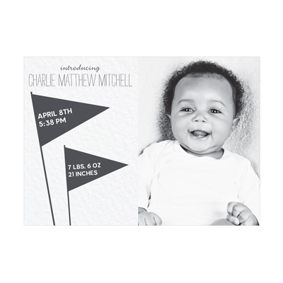 Photo Paper Wave The Flags Boy Birth Announcements