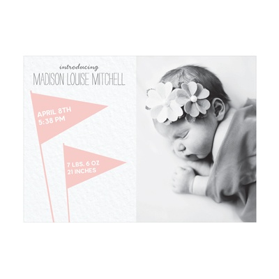 Photo Paper Wave The Flags Girl Birth Announcements