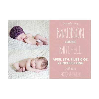 Photo Paper Double Take Girl Birth Announcements