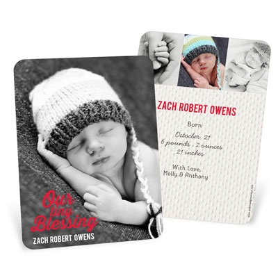 Boy Christmas Blessing Vertical Birth Announcements
