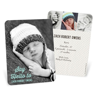 New Arrival Vertical Baby Boy Announcements