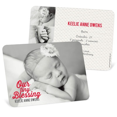 Girl Christmas Blessing Birth Announcements