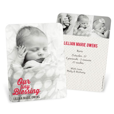Girl Christmas Blessing Vertical Birth Announcements