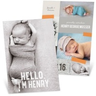 Taped Collage Boy Birth Announcements