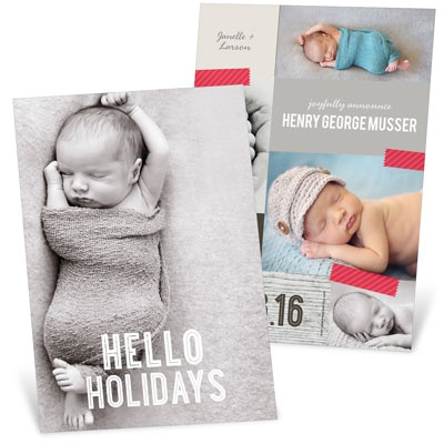 Taped Christmas Collage Birth Announcements