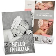 Taped Collage Girl Birth Announcements