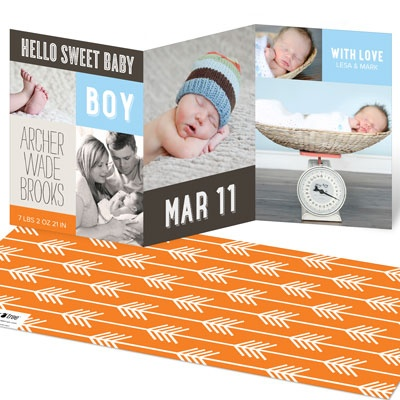 Sweet Collage Trifold Baby Boy Announcements