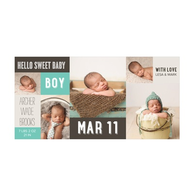 Photo Paper Sweet Boy Collage Birth Announcements