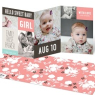 Sweet Collage Trifold Baby Girl Announcements