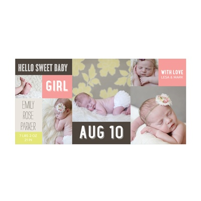 Photo Paper Sweet Girl Collage Birth Announcements