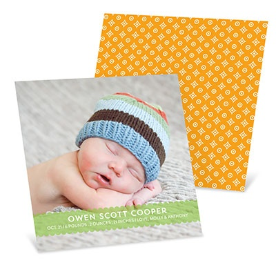 Sweetly Scalloped Boy Birth Announcements
