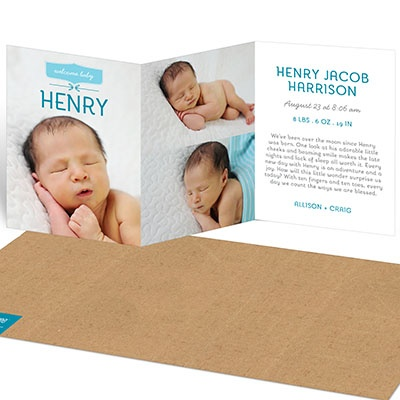 Warm Welcome Trifold Boy Birth Announcements