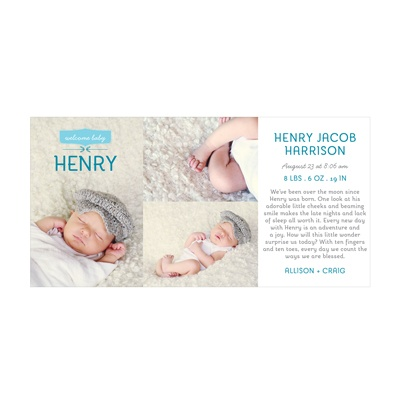 Photo Paper Welcome Baby Boy Birth Announcements