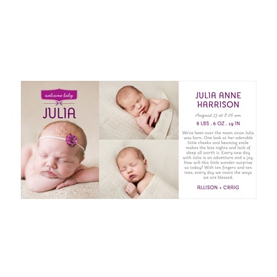 Photo Paper Welcome Baby Girl Birth Announcements