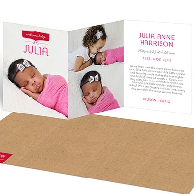 Warm Welcome Trifold Girl Birth Announcements