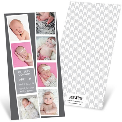 Photo Booth Strips Baby Girl Announcements