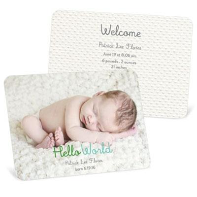 Hello World Boy Birth Announcements