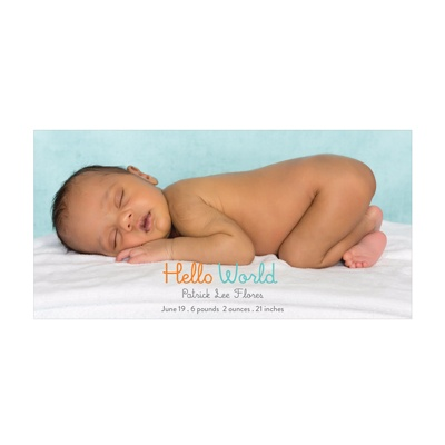 Photo Paper Hello World Boy Birth Announcements