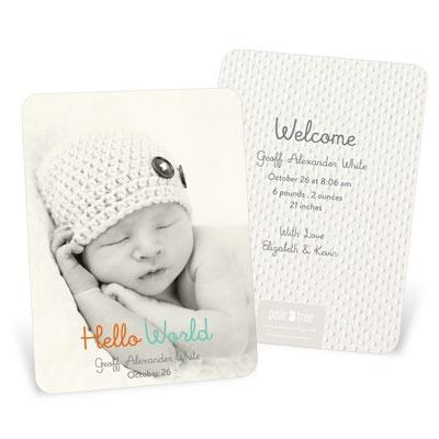 Hello World Boy Vertical Birth Announcements
