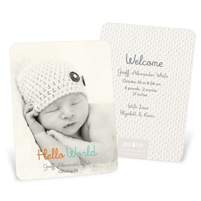 Hello World Vertical-- Baby Boy Announcements