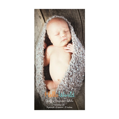 Photo Paper Hello World Boy Vertical Birth Announcements