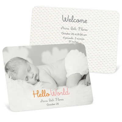 Hello World Girl Birth Announcements
