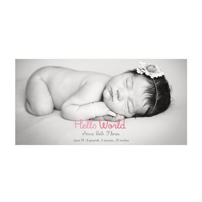 Photo Paper Hello World Girl Birth Announcements