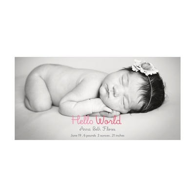 Photo Paper Hello World Baby Girl Announcements