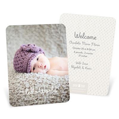 Hello World Girl Vertical Birth Announcements