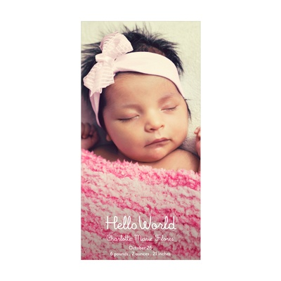 Photo Paper Hello World Vertical Baby Girl Announcements