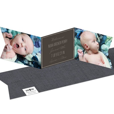 Ribbon Trifold Baby Boy Announcements