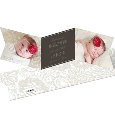 Ribbon Trifold Baby Girl Announcements