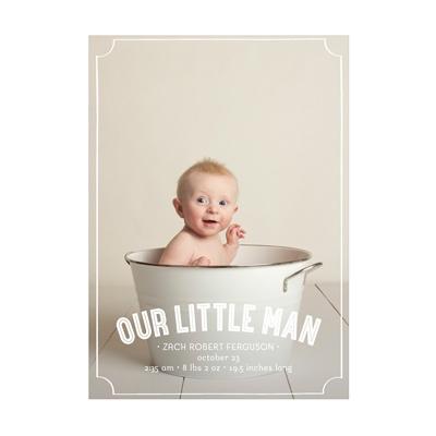 Photo Paper Frames Vertical Baby Boy Announcements