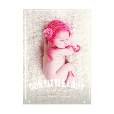 Photo Paper Frames Vertical Baby Girl Announcements