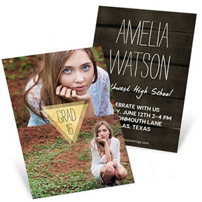 Good As Gold Vertical -- Mini Graduation Announcements