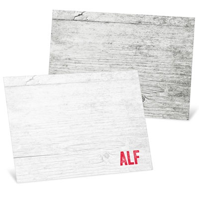 Weathered Wood Monogram Thank You Cards