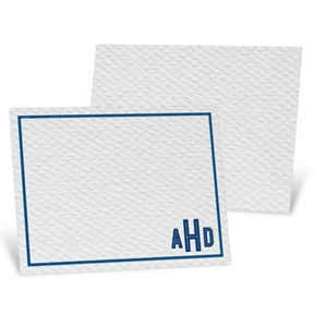 Blue Bordered Monogram -- Thank You Cards