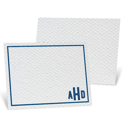 Blue Bordered Monogram Thank You Cards
