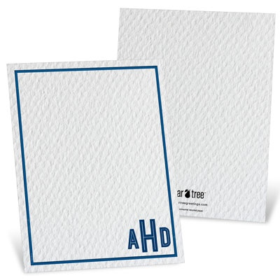 Blue Bordered Monogram Vertical Thank You Cards