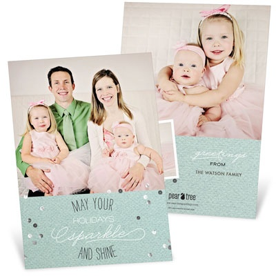 Sparkle & Shine Three Photo Christmas Cards