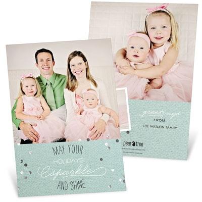 Sparkle & Shine Three Photo Holiday Photo Cards